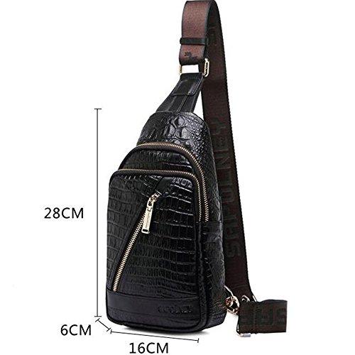 gendi da uomo in vera pelle vintage borsa a tracolla Sling petto Borsa tracolla zaino da escursionismo Satchel fresco piccolo borsa Messenger, Brown nero