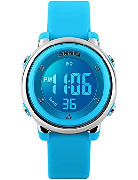 Kindersport-Digital-Uhr für wasserdichte Kinder Armbanduhr Jungen mit LED-elektronischen Outdoor-blauen Uhren