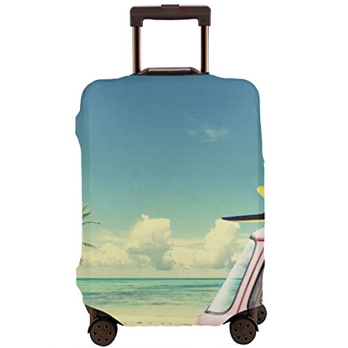 Travel Suitcase Protector,Vintage Car In The Beach with A Surfboard On The Roof,Suitcase Cover Washable Luggage Cover M Black Skull Hard Case