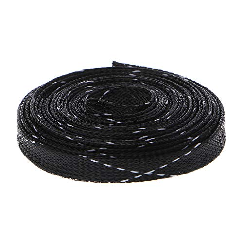 GROOMY (5m Kabelmantel geflochtenes Maschenrohr schwarz + 2 Stränge weißes Kreuz -12mm -