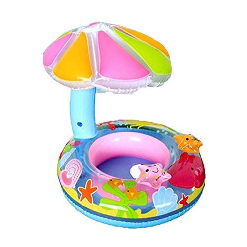 73JohnPol Karikatur-Baby-Wasser-Hin- und Herbewegung PVC-Sitzboot mit Überdachungs-aufblasbarem Kreis-Pool-Hin- und Herbewegungs-Boots-Spielzeug-Kleinkind-Schwimmring, Mehrfarben (Spielzeug, Boot Float)