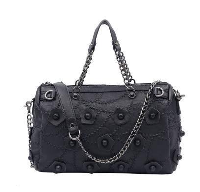 YUI Boston Bag handtaschen - Freizeit - Mode - Nieten in Blumen umhängetasche Schwarz Joker. -