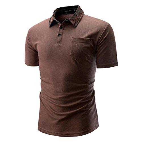 Sommer Casual Basic Einfarbige Baumwollmischung Sweatshirt T-Shirt mit Kragen Größen S-3XL (L, Kaffee)