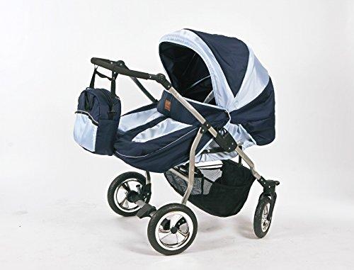 Zwillingskinderwagen mit viel Zubehör in 12 Farben und Räder zur Auswahl (Design 10)