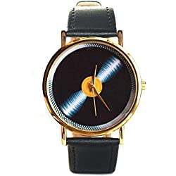 Fashionable Vinyl Player Turntable Men Ladies Leather Watch