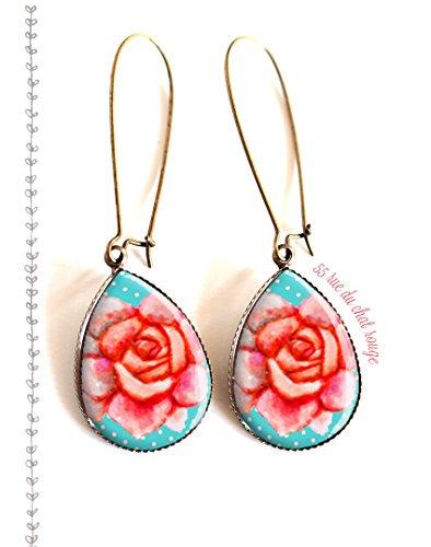 boucles-doreilles-rose-aux-petits-pois-bleu-pastel-finition-bronze