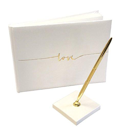 KATINGA, libro degli ospiti, con scritta dorata 'Love' e penna abbinata, perfetto per matrimoni, come registro o annuario