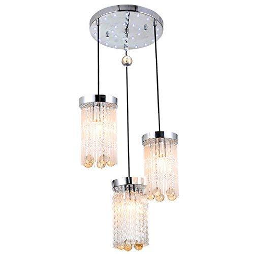 Xiao Yun ☞ Mode Kristall Restaurant Pendent Lichter Kreative Bar Pendent Licht Moderne Küche Lampe Kronleuchter Leuchten (3 Lichter-runde top) ☜ - 3-licht-runde Baldachin