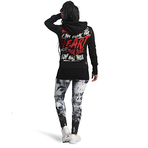 Yakuza Original Damen Break Their Bones Fat Cuff Hoodie Kapuzenpullover Schwarz