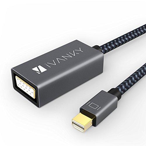 Mini DisplayPort auf VGA Adapter iVanky Thunderbolt auf VGA Adapter (vergoldeter Stecker, mit Nylon umspannt) Male zu Female Adapter für Macbook Air/Pro, iMac, Mac Mini, Projektor, HDTV, Monitor und mehr - Grau