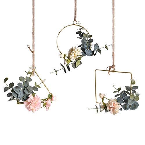 Pauwer Deko Kranz 3er Set mit Metall Ringe Hoop Künstliche Pfingstrose Eukalyptus Wandkranz Türkranz Für Outdoor Hochzeiten Zuhause(Peony Floral Hoop Set of 3)