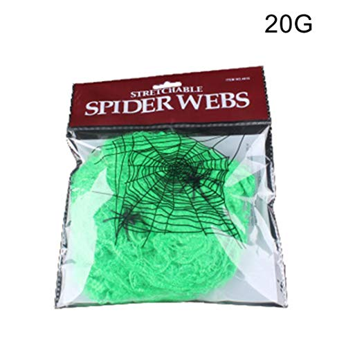 Skelett Kostüm Grün - Steellwingsf realistische Dehnbare Spinnnetz Spinnnetz Halloween Party Requisiten Haunted Haus Dekor - grün 20g