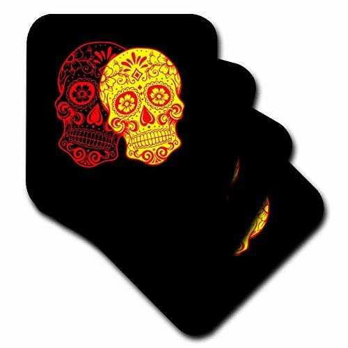 Skull–Tag der Toten. Gelb, Rot und Schwarz.–Untersetzer, Gummi, schwarz, set-of-4-Soft (Tag Der Toten Dekor)