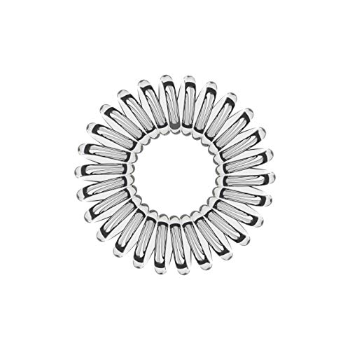 10er Set Spiral-Haargummi transparent groß (3,5 cm, transparent/durchsichtig/crystal-clear, 1x 10...