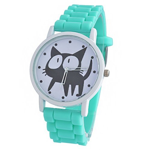 - 41Sr8ivNHUL - Souarts Silicon Round Dial Cat Printed Quartz Wrist Watch Green