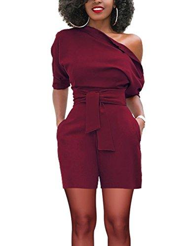 FeelinGirl Damen Elegante Jumpsuit Lang Weites Bein Overalls Hoher Taille Spielanzug mit Gurt Halbe Hülse Business Büro - Damen-taillen-gurt