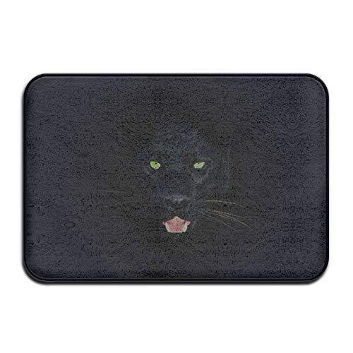 LIS HOME Rutschfeste dekorative Fußmatte im Freien, schwarzer Panther mit blauen Augen Gummimatte im Freien Vordertürmatten Veranda Garage Großer Fließbeleg Eingangsteppich Standard Teppich Zuhause