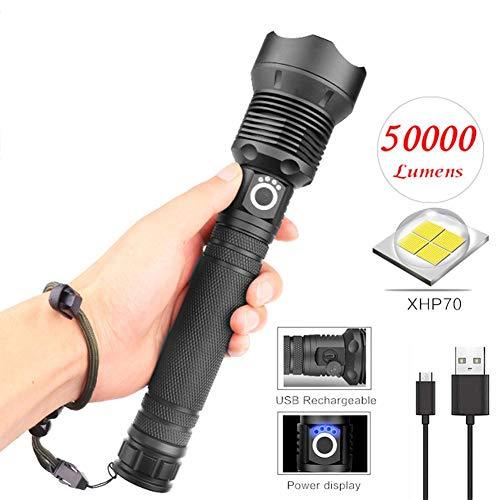 Beimaji Trade Lampe Torche LED USB Rechargeable Torche IPX6 étanche Super Lumineux 50000 lumens Lampe de Poche Zoom télescopique avec 3 Modes de randonnée Camping Activités de Plein air