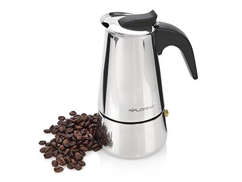 Bluespoon Espressokocher aus Edelstahl   Kochen Sie 4 Tassen Espresso gleichzeitig   Genießen Sie einen starken und aromatischen Espresso