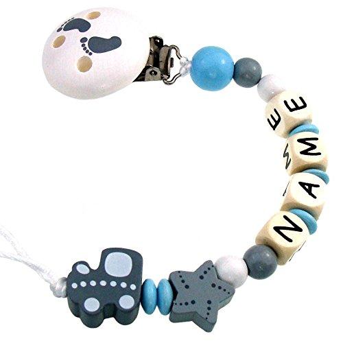 PREMIUM Schnullerkette mit Namen HOLZ Modell Babyexpress grau hellblau mit Silikonring