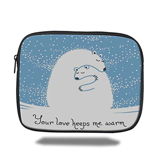 Tablet Bag for Ipad air 2/3/4/mini 9.7 inch,Animal Decor,Mother Polar Bear Hugging Her Baby in The Snow North Winter Love Keeps Warm Artful Theme,Blue White,Bag