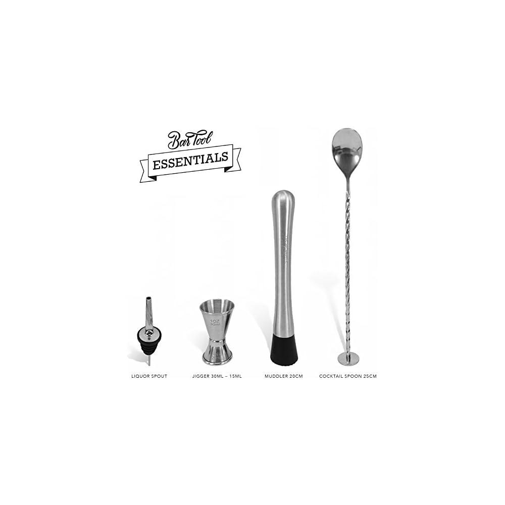 Notwendige Bar Ausrstung Set Aus 4 Handgefertigten Edelstahl Bar Werkzeugen Von Trendy Bartender Stel Cocktail Lffel Messbecher Und Ausgieer 4 Notwendige Bar Gegenstnde