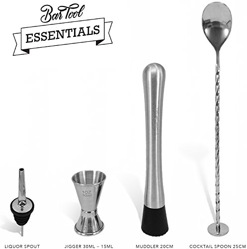 Bar Tools Essentials - Set von 4 Handgefertigten Edelstahl by Trendy Bartender - Caipirinha Stößel, Cocktail Löffel, Messbecher und Ausgießer