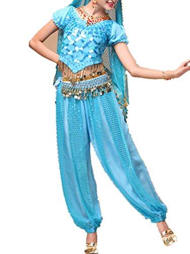 Bauchtanz Tribal Tanz Outfits Tanzkleidung Bauchtanz Kostüm Set Indischer Tanz Top & Paillette Bauchtanz Hose Münzen light (Rumba Frau Kostüm)