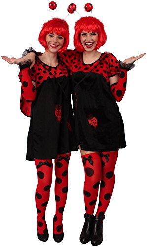 Marienkäfer Kostüm in schwarz-rot für Damen | Gr. 34 | 2-teiliges Käfer Kostüm für Damen | Plüsch Kostüm für Frauen | Tier Plüsch Kostüm für Karneval