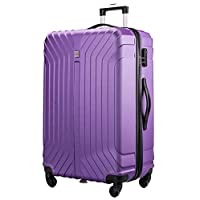 "Flymax 29"" Large Suitcases on 4 Wheels Lightweight Hard Shell Luggage Durable Check in Hold Luggage Built-in 3 Digit Combination Purple"