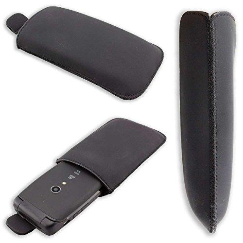 caseroxx Slide-Etui Handy-Tasche für Doro Primo 405 / Primo 406 aus Kunstleder, Handy-Hülle in schwarz