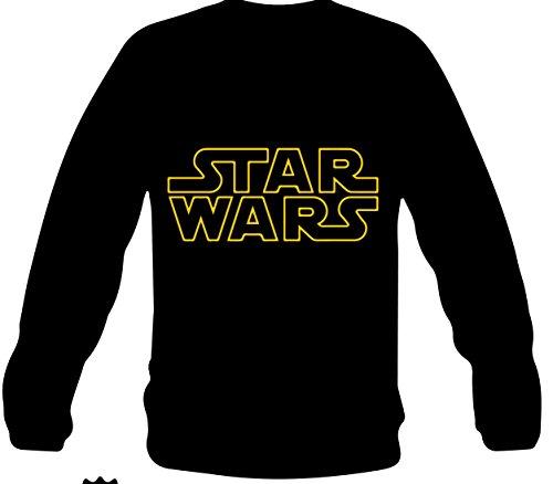 """Monkey Design - FELPA con scritta e logo """"STAR WARS"""" nera, taglia: L, per donna"""