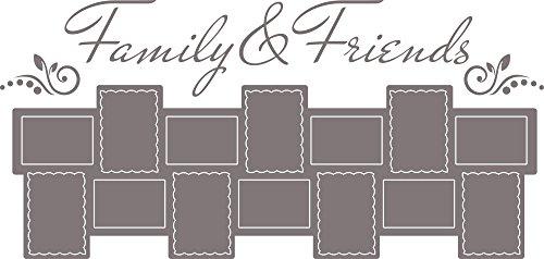 GRAZDesign 160020_57_090 Wandtattoo Bilderrahmen | Spruch Family & Friends | Familien-Geschenk (120x57cm // 090 silbergrau)