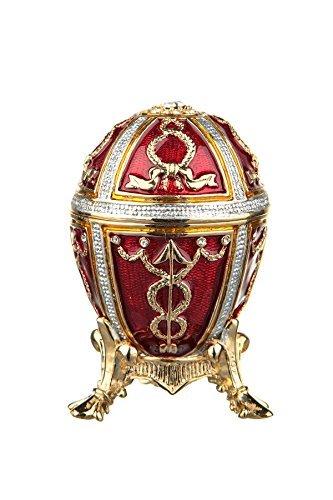 Russische Fabergé-Stil Ei / Schmuckkästchen mit Pfeilen 6 cm rot -