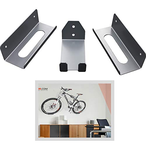 Fahrrad Wandhalter Wandhalterung Wandmontage Fahrradhalterung Fahrradständer Pedalhaken SPD MTB, 3 Stück, Grau