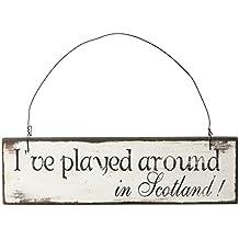 Heaven Sends Letrero con mensaje Scotland Golf (5 x 18 x 1.5cm/Crema)