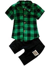 Logobeing 2 Piezas Ropa Bebé Niños Camiseta de Plaid Cuadros y Pantalones  Cortos Conjunto de Ropa 72b31d52a8f