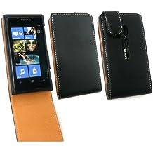 Emartbuy ® Nokia Lumia 800 Lujo Pu Leather Flip Case / Portada / Pouch Negro / Canela Y Protector De Pantalla