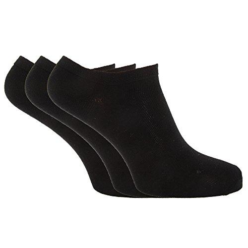 Womens/Ladies Plain Trainer Socks (Pack Of 6) (4-8) (Black)