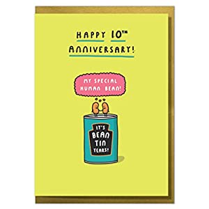 """It's Bean Tin Years!"" Funny 10th Anniversary Card"