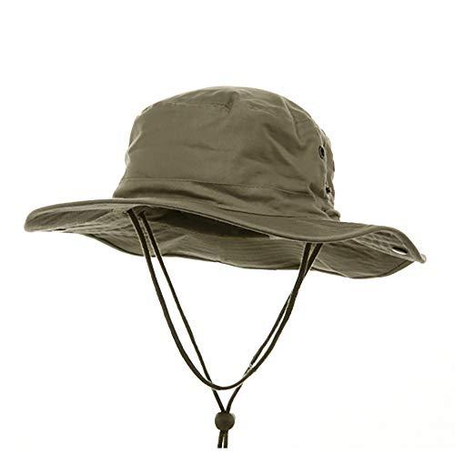 MG Herren Mütze aus gebürstetem Baumwoll-Twill Aussie Side Snap Kinnband - Beige - X-Large/XX-Large Twill Snap