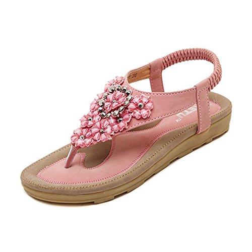 Livre Rosa Superfície Que Youjia Cinta Elástica Ar Sapatos Strass Ao Sandálias Senhoras Bling IB7Uqxz