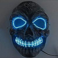 BFMBCHDJ Neon Masks Halloween Scary Skull Mask LED Masque Masquerade Mascara Cosplay Carnival Party Masker Skeleton Blue One Size