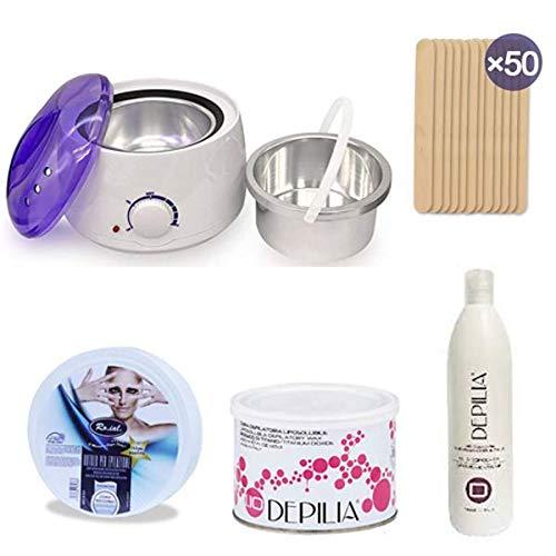 S-d shop - kit depilazione pro: scaldacera professionale + 1 vaso cera 400ml + rotolo per ceretta 5 stelle + cera depilia + 50 spatole + 1 olio