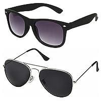 Silver Kartz Classic Combo Wayfarer Aviator Unisex Sunglasses (AV033 40 Black)
