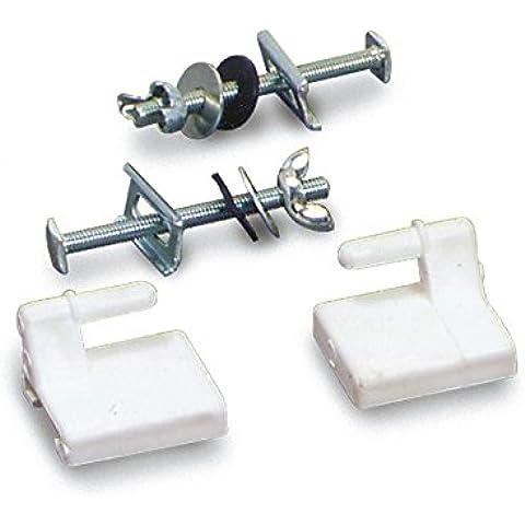 Supporti in plastica per sedili wc, Coppia supporti per sedili wc in plastica bianca con due bulloni in ferro zincato