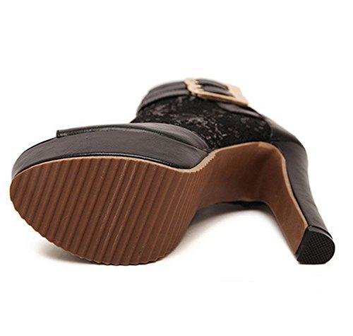 YMXJB Mode mesh sandales ultra haut talon chaussures femme Black