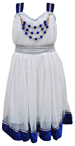 TINY TOON Party wear Baby Girls's Frock Dress (F152_6, White, 7-8 Years)  available at amazon for Rs.399