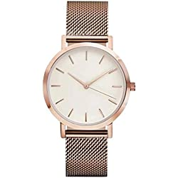 WINWINTOM Women Crystal Stainless Steel Analog Quartz Wrist Watch Rose Gold