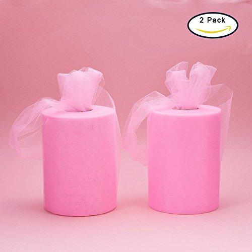 BENECREAT 2 rollo 200 yardas / rollo de tela enrollada de tul de 600FT para la decoración del banquete de boda, artesanía DIY, 6 pulgadas x 100 yardas cada uno (rosa)